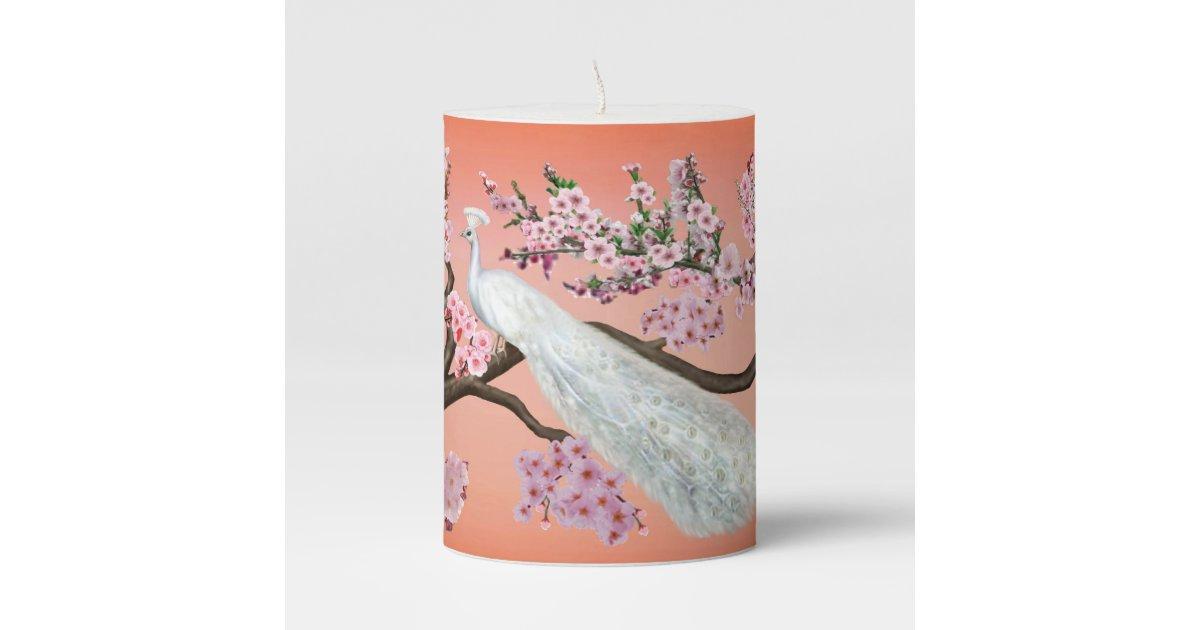 96989bde959 Cherry Blossom Peacock Pillar Candle