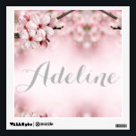 """Cherry blossom personalized wall decal<br><div class=""""desc"""">Cherry blossom pink and white personalized wall decal. Choose child&#39;s name or text. Pink,  white,  and silver. Girl&#39;s room and nursery decor.</div>"""