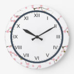 cherry blossom  pink and white clock