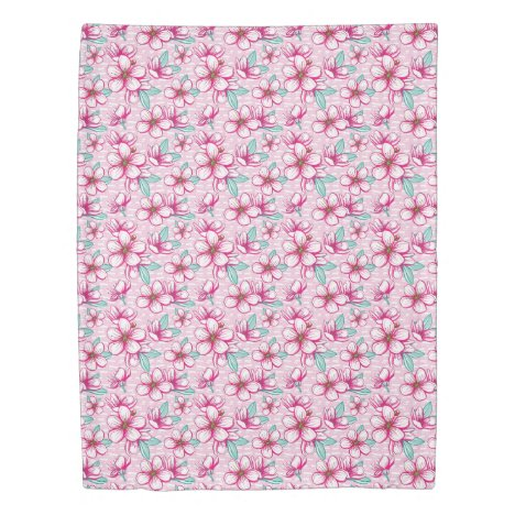 Cherry Blossom Pink and White Duvet Cover
