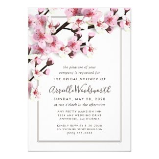 Cherry Blossom Pink Bridal Shower Invitations
