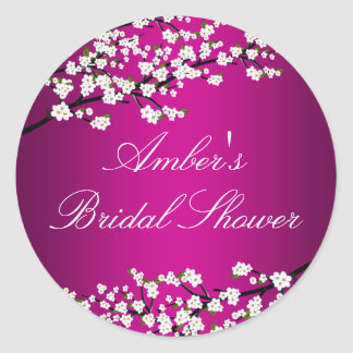 Cherry Blossom Pink Bridal Shower Sticker