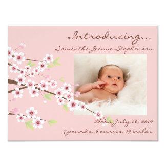 Cherry Blossom Pink & Brown Baby Girl Photo Birth Card