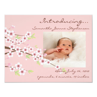 "Cherry Blossom Pink & Brown Baby Girl Photo Birth 4.25"" X 5.5"" Invitation Card"