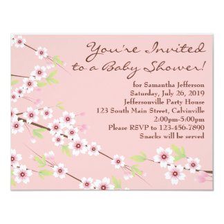 Cherry Blossom Pink & Brown Baby Shower Card