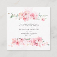Cherry Blossom Pink Floral Wedding Website Enclosure Card