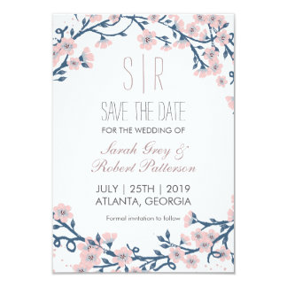 Cherry Blossom Pink Flower Wedding Save The Date Card