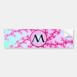 Cherry Blossom - Pink Fractal Swirls with Monogram Car Bumper Sticker