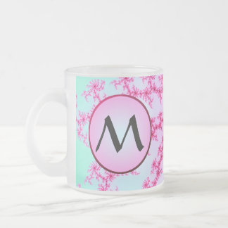 Cherry Blossom - Pink Fractal Swirls with Monogram Frosted Glass Coffee Mug