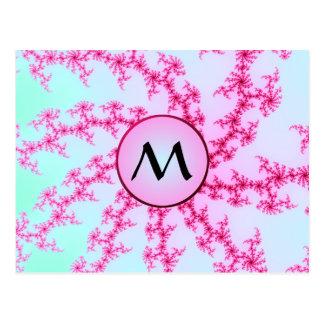 Cherry Blossom - Pink Fractal Swirls with Monogram Postcard