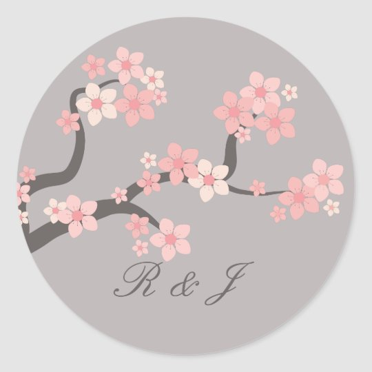Cherry blossom pink/grey circle sticker