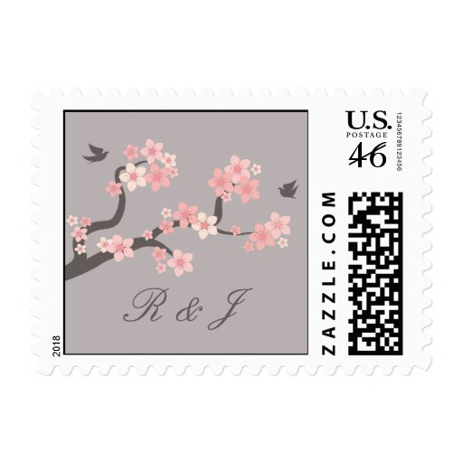 Cherry Blossom pink/grey with initials stamp