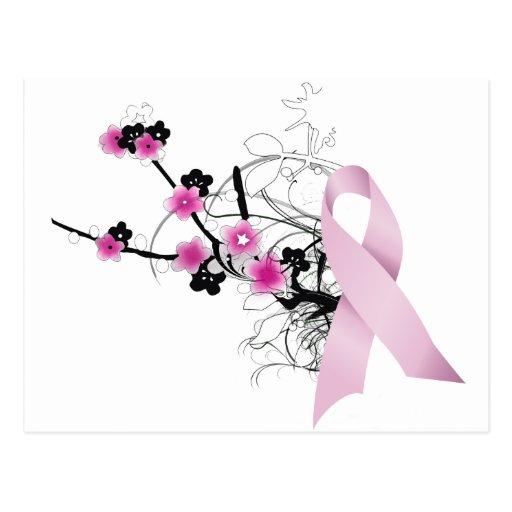 Cherry Blossom Pink Ribbon Postcards