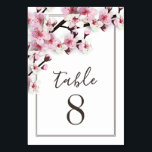 """Cherry Blossom Pink Wedding Table Number Cards<br><div class=""""desc"""">Cherry Blossom Pink Wedding Table Number Cards - features a color scheme of dark brown, pink and white with modern script and san serif fonts. View the full matching collection link found on this page to complete the look for your spring, late winter, or summer event. You&#39;ll see a collage...</div>"""