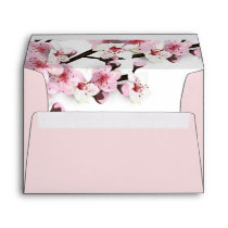 Cherry Blossom Pink White Wedding Envelopes