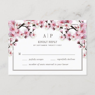 Cherry Blossom Pink White Wedding RSVP Cards