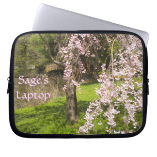 Cherry Blossom Pond Laptop Sleeve *personalize*