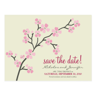 Cherry Blossom POSTCARD Save the Date (pink)