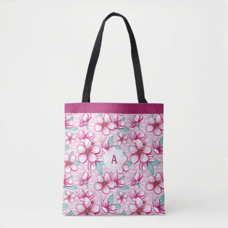 Cherry Blossom Pretty Pink Monogram Tote Bag