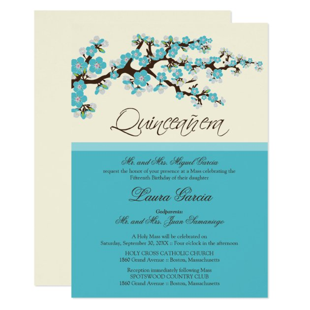 Aqua Quinceanera Invitations & Announcements | Zazzle