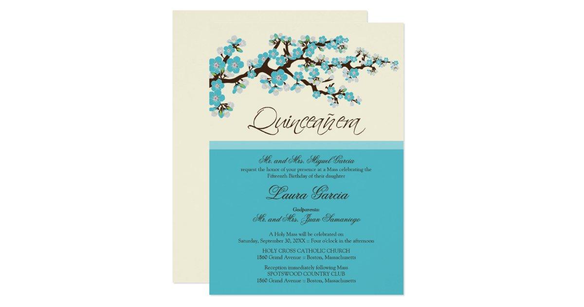 Cherry Blossom Quinceanera Invitation Aqua Zazzle