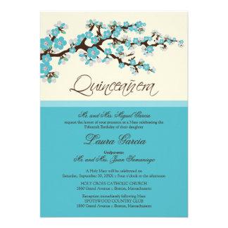 Cherry Blossom Quinceanera Invitation aqua