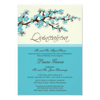 Cherry Blossom Quinceanera Invitation (aqua)