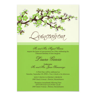 Cherry Blossom Quinceanera Invitation (green)