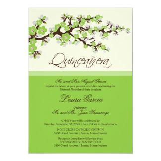 Cherry Blossom Quinceanera Invitation (green)