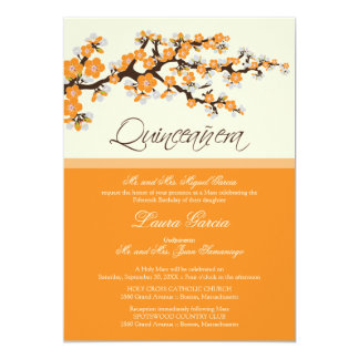 Cherry Blossom Quinceanera Invitation (orange)