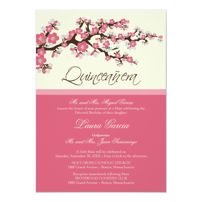 cherry blossom quinceanera invitation pink zazzle. Black Bedroom Furniture Sets. Home Design Ideas