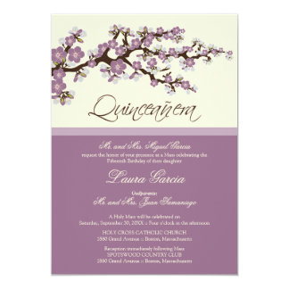Cherry Blossom Quinceanera Invitation (purple)
