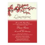 """Cherry Blossom Quinceanera Invitation (red) 5"""" X 7"""" Invitation Card"""