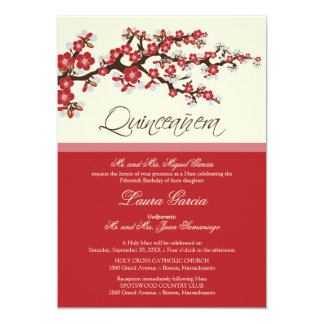 Cherry Blossom Quinceanera Invitation (red)
