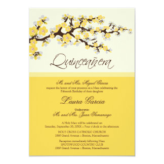 Cherry Blossom Quinceanera Invitation (yellow)
