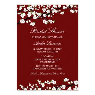 Cherry Blossom Red Bridal Shower Invitation