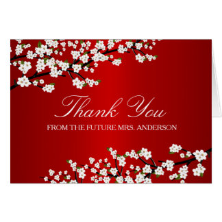 Cherry Blossom Red Bridal Shower Thank You Card
