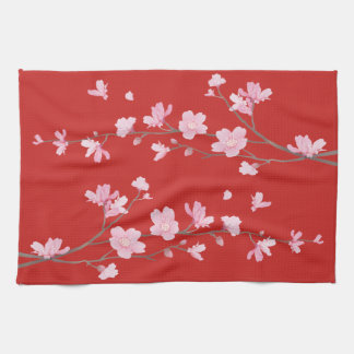 Cherry Blossom - Red Hand Towel