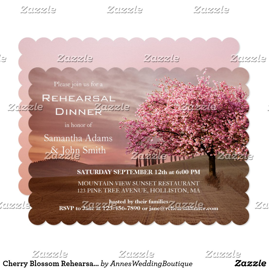 Cherry Blossom Rehearsal Dinner Invitation