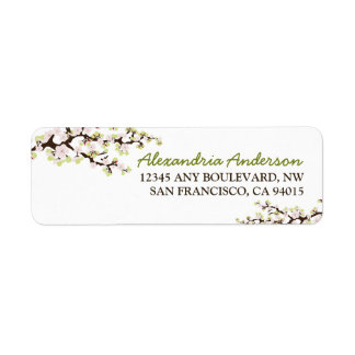 Cherry Blossom Return Address Label (lime)