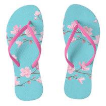 Cherry Blossom - Robin egg blue Flip Flops