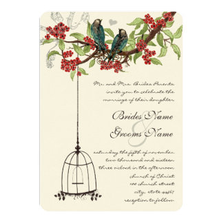 Cherry Blossom Romantic Birds & Birdcage Weddings Card