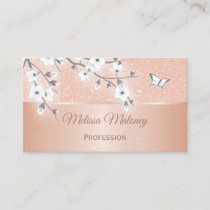 Cherry Blossom Rose Gold Gray Business Card