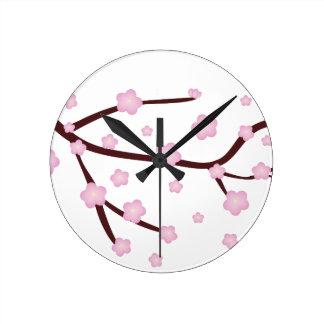 Cherry blossom round clock
