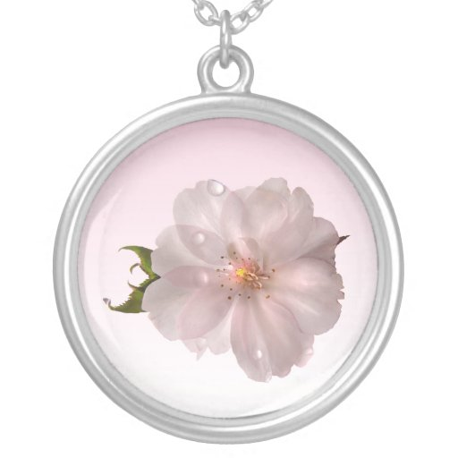 Cherry Blossom Round Pendant Necklace