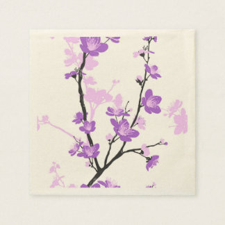 Cherry blossom,royal purple,oriental pattern,flora standard cocktail napkin