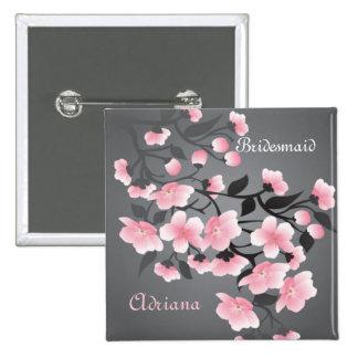 Cherry blossom (Sakura) Bridesmaid 2 Inch Square Button