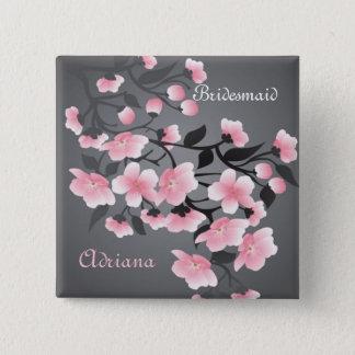 Cherry blossom (Sakura) Bridesmaid Pinback Button