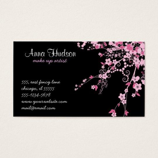 Cherry Blossom, Sakura Flowers - Pink Black Business Card