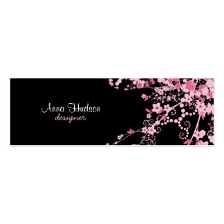 Cherry Blossom, Sakura Flowers - Pink Black Double-Sided Mini Business Cards (Pack Of 20)